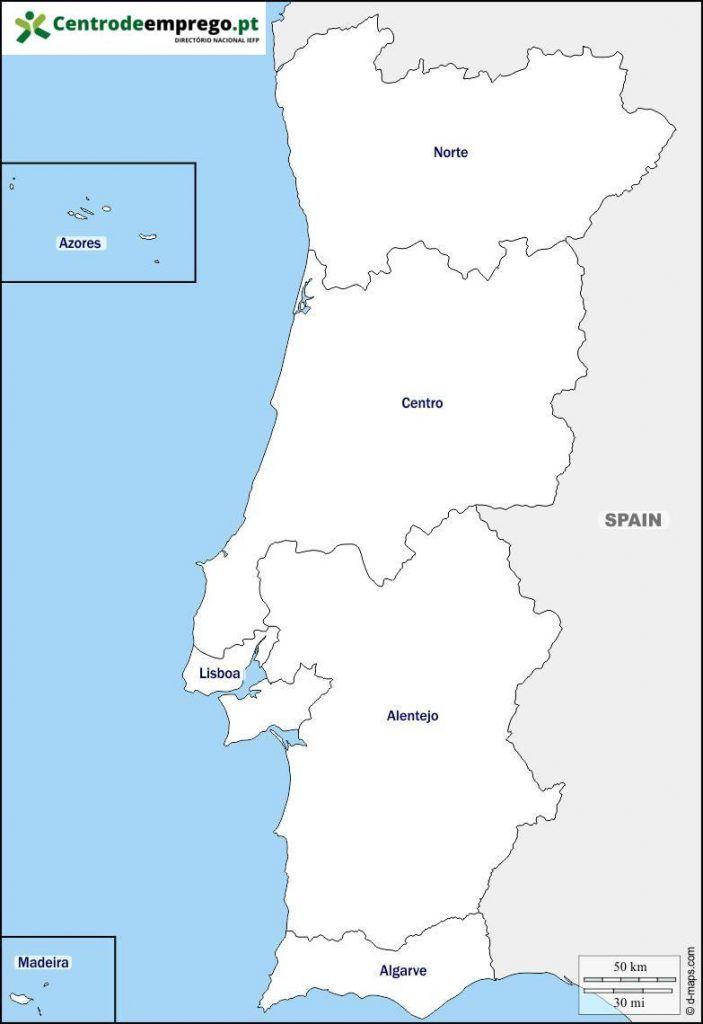 Mapa regiões portugal
